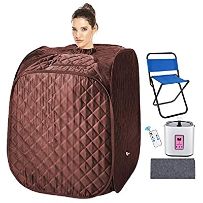 usuallye Steam Sauna Spa 2L Portable Foldable Personal Therapeutic Sauna Tent Pot for Weight Loss Detox Reduce Stress Fatigue with Remote Chair Indoor Home