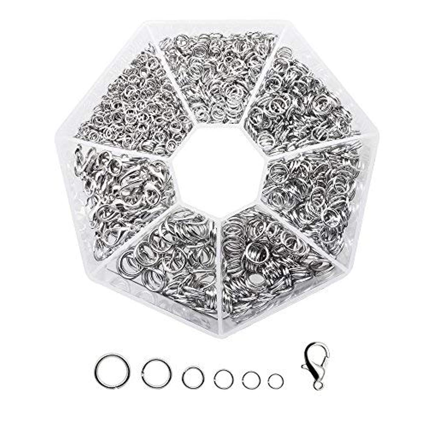 Dreamtop Open Jump Rings 4mm 5mm 6mm 7mm 8mm 9mm and Lobster Claw Clasp Box Set for DIY Jewelry Making Findings