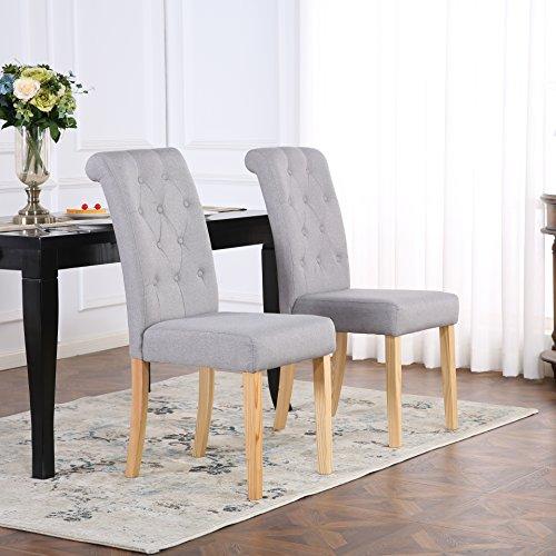 Juego de 2 sillas para comedor tapizadas con respaldo alto con desplazamiento, color gris claro
