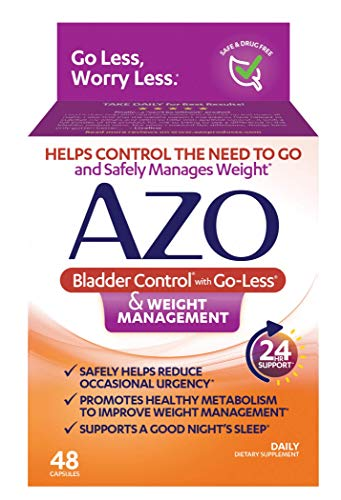 AZO Bladder Control with Go-Less® & Weight Management Dietary Supplement   Helps Reduce Occasional Urgency*   Promotes Healthy Metabolism*   Supports a Good Night's Sleep*   48 Capsules
