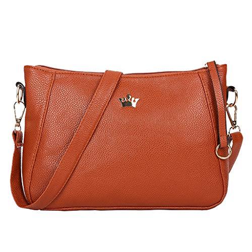 Transwen Taschen - Bolso Mochila para Mujer Marrón marrón Small