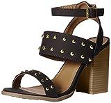 Qupid Women's Wood Heel Sandal Heeled, Black Distress Nubuck Polyurethane, 10 M US