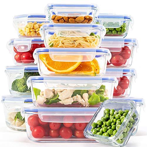 CREST [15er Set] Glas-Frischhaltedosen - Vorratsbehälter mit Deckel - Luftdicht, BPA-Frei, Geeignet für Mikrowelle, Gefrierschrank und Spülmaschine