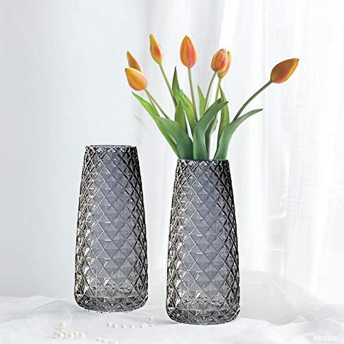 CHENYI Vaso per fiori in vetro stile Ins design di ananas vaso decorativo moderno semi-trasparente per scrivania ufficio casa texture ananas grigio