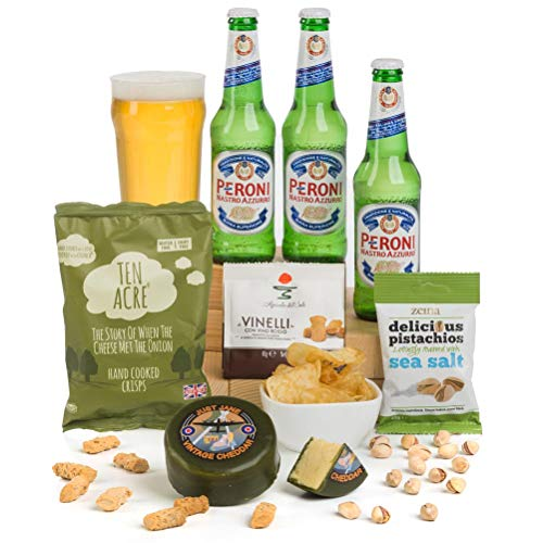 Hay Hampers -Peroni Lager Gift with Cheese & Bar Snacks Hamper - FREE UK DELIVERY