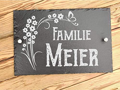 Haus-Türschild personalisiert mit Namen | Schild mit Gravur des Familiennamen | Motiv Blumen | dekoratives Hausschild individuelle aus Schiefer | für den Eingangsbereich