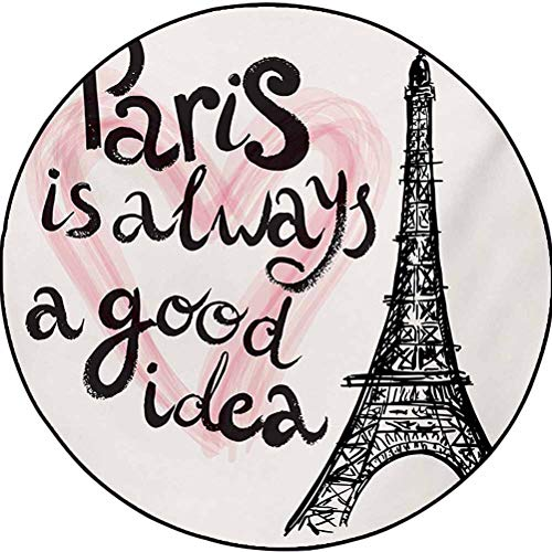 Eiffel Tower Polyester Modern Abstract Round Rug Perfect for Dining Rooms, Kitchens and More Lettering in Heart Modern Europe Dream Tour Artful Sketch Illustration Cream Pink Black 6 ft in Diameter