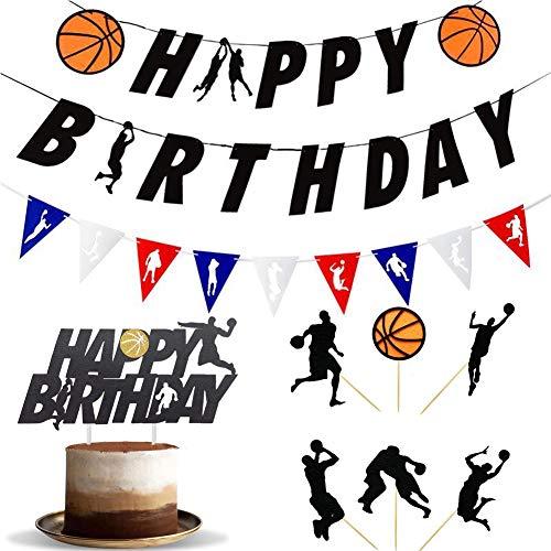 WENTS Basketball Party Dekorationen 8PCS Basketball Happy Birthday Banner Cupcake Toppers Basketball Party Geburtstag Dekorationen Supplies für Kinder, Jungen und Basketballfans