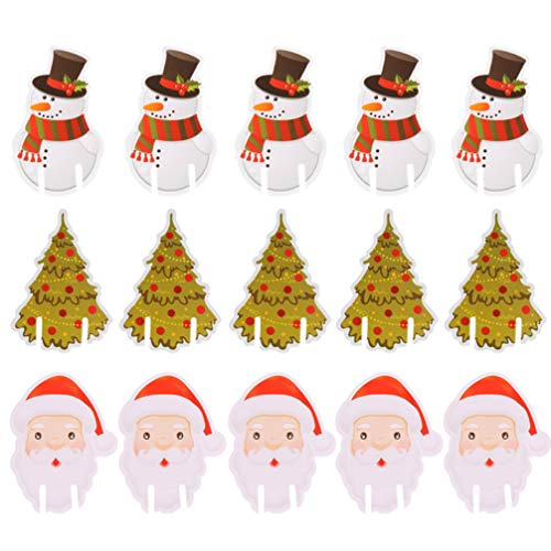 Cabilock 60 Unids Tarjeta de Copa de Vino de Navidad Encantos Santa Claus Muñeco de Nieve Árbol de Navidad...