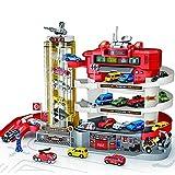 Tastak Station Parking Garage Toy Juego de juguete de garaje de 4 niveles Coche Vehículo Edificio Estacionamiento Pistas de carreras con 6 piezas Diecast Metal Cars Juego de garaje duradero para niños