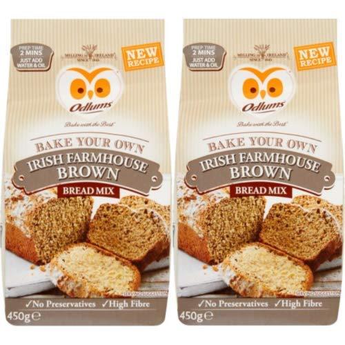 Odlums Quick Bread Irish Farmhouse Bread Mix, 2 bags, 450g (15.9oz) per bag.