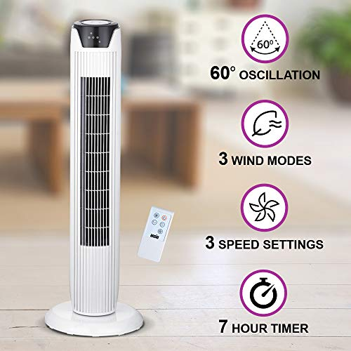 ANSIO Tower Fan 36-inch with Remote For Home and Office, 7 Hour Timer, 3 Speed Oscillating Fan - White