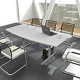Weber Büroleben GmbH Easy - Tavolo da conferenza a forma di barca, 180 x 100 cm, colore: Grigio chiaro