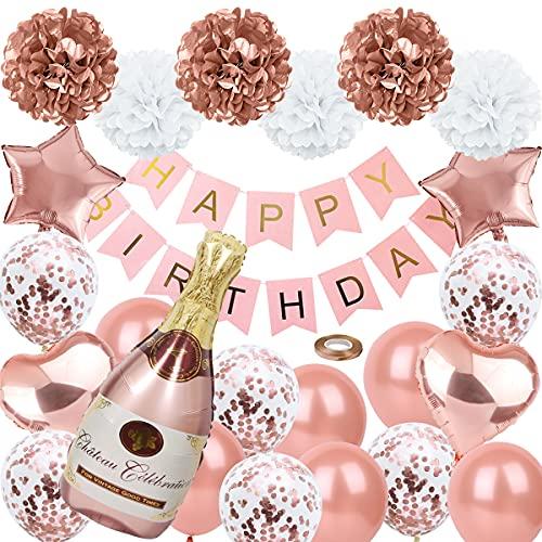 Set Decoracion Cumpleaños Adultos Globo Helio Globos Decoración de Cumpleaños en Oro Rosa para Muchacha Globos de Confeti Decoraciones Fiesta Pancarta Feliz Cumpleaños Decoración Guirnalda