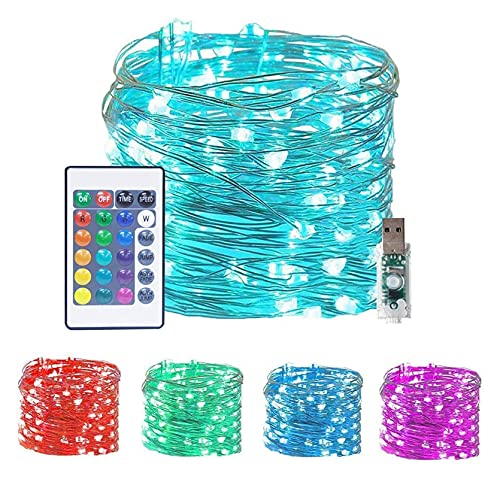 100 LED Fairy String Lights Outdoor Twinkle Starry Lights With Remote Control Timer 16 Color Changing Twinkle Lights 33Ft 4 Modes Decor Mini Wire Lights For Bedroom Party Xmas Home Party Room