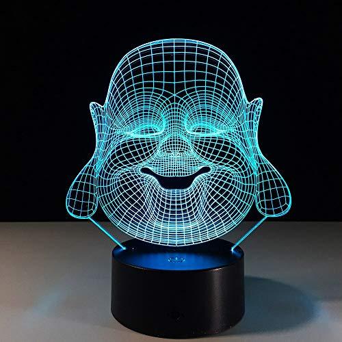 Iluminacin indirecta luz ambiental luz nocturna Maitreya Buddha noche cambiante de color lmpara de mesa 3D globo grande burbuja luz LED ilusin visual cambio de color led decoracin fresca