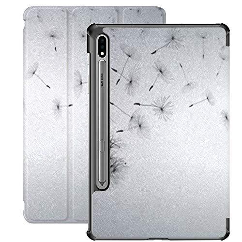 Funda Galaxy Tablet S7 Plus de 12,4 Pulgadas 2020 con Soporte para bolígrafo S, Diente de león Blanco Abstracto Semillas voladoras de Diente de león Funda Protectora Tipo Folio con Soporte Delgado pa