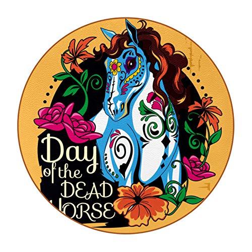 6 posavasos con imagen y texto personalizables para inauguración de la casa, regalos de anfitriona, registro de boda, decoración de habitación, caballo del día de los muertos, amarillo