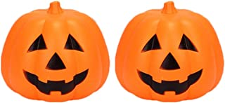 Atmospheric 2 Pcs Halloween Glowing Pumpkin Lantern Portable Halloween Pumpkin Light Horror Ghost Festival Atmosphere Prop...