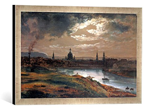 Gerahmtes Bild von Johan Christian Clausen Dahl Blick auf Dresden bei Abend, Kunstdruck im hochwertigen handgefertigten Bilder-Rahmen, 60x40 cm, Silber Raya