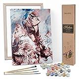 Marpl - Juego de pintar por números para adultos con marco y lienzo impreso para pinturas acrílicas, diseño creativo, 40 x 50 cm