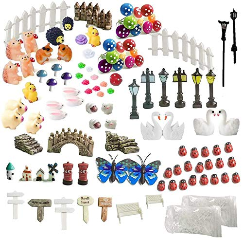 INHEMI 111 Pezzi Fata Giardino Ornamenti Fairy Garden Kit Miniature Figurine Accessori Miniature...