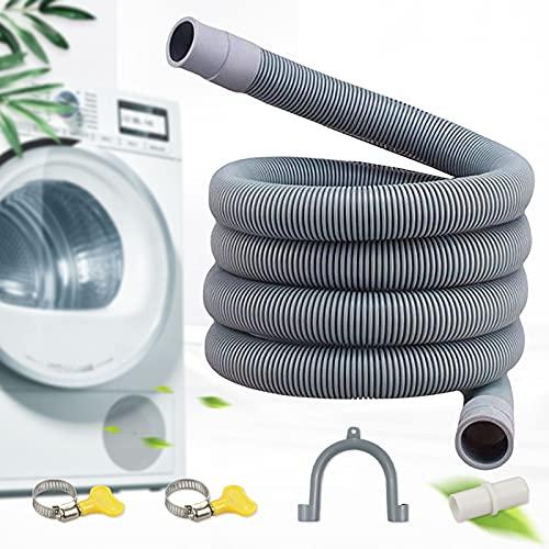 Moocuca Tubo di Scarico, 1m Tubo per lavatrice ispessito, PVE, Inclusa staffa e fascetta stringitubo, Per lavatrici e lavastoviglie