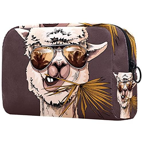 Estuche cosméticos Viaje portátil Organizador Bolsas Maquillaje Retrato de Llama en Gafas de Sol con una Hoja de Palma de Ventilador Cremallera Bolsillo Grande Almacenamiento