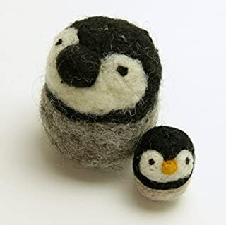 Woolbuddy Needle Felting Penguin Kit Arts and Crafts Wool Kit for Family Projects Fun Easy for Beginners