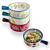 Set di 4 ciotole per zuppa di cipolle francesi con manici, ciotola per zuppa in ceramica da 16 once per zuppa, cereali, stufato, freddo (colore, 4)