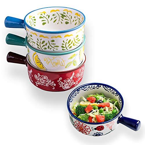 SDFVSDF 4 Stück 480 ml Suppenschüsseln mit Griffen, Keramik-Zwiebel-Suppenschüsseln für Suppe, Müsli, Eintopf, Chill, Haferflocken, Pastetenschalen.