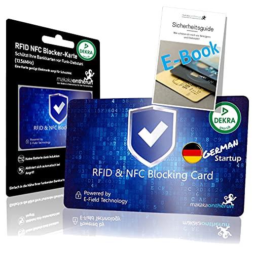MakakaOnTheRun® RFID Blocker Karte - DEKRA Geprüft I Maximale Datensicherheit Dank 360° RFID Schutz für Geldbörsen, EC- & Kreditkarte I Extra Dünne RFID Karte I NFC...