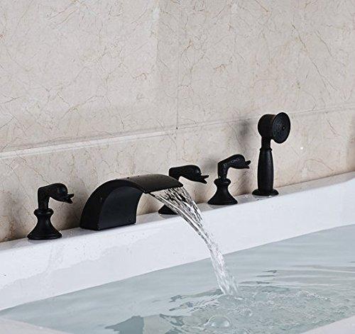 Gowe Mélangeur 5 pcs Répandue Baignoire robinet trois Poignées mélangeurs Bec cascade Baignoire avec douche à main
