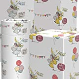 Baby Shower Wrapping Paper for Gifts & Presents Eco Friendly Gift Wrap 6 Sheets with 10 Gift Tags Vintage Bunny & Duck