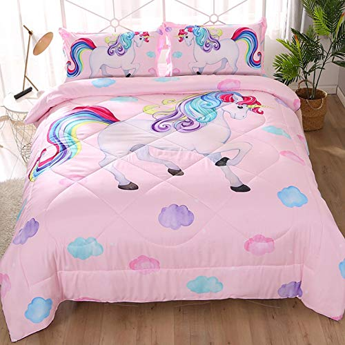 Pink Unicorn Comforter Set Twin Size 3 Pieces, Girls Kids Quilted Bedspread Comforter Sets, Unicorn Bedding Sets