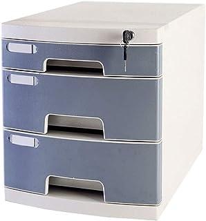 Armoire à fichiers Avec serrure et tiroir Armoire de classement multifonctionnelle à 3 tiroirs Couleur: gris, bleu, rose A...