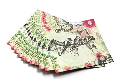 Alicia en el país de las maravillas suministros de fiesta – enorme paquete de 40 servilletas – diseño floral vintage...