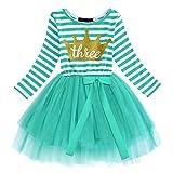 Vestito per neonato, 1/2/3° compleanno, da bambina, a maniche lunghe, in tulle, tutù, gonna per battesimo, compleanni, feste, per servizi fotografici da 1 a 3 anni Verde + corona (3 anni) 3 Anni