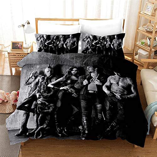 Fadaseo Bettbezüge, für Doppelbett und Einzelbett, 3D-Druck, Filmfiguren, 3-teiliges Bettwäsche-Set, pflegeleicht und superweich, Baumwolle, mit 2 Kissenbezügen, hypoallergen, Größe 140 x 200 cm