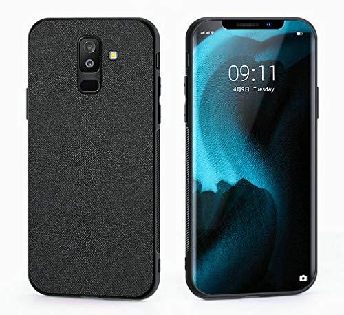 Kepuch Taiga Case Capas TPU PU-Couro para Samsung Galaxy A6+ A6 Plus/A9 Star Lite - Preto