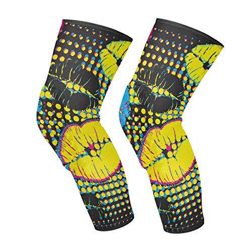 Colorful Cartoon Animals Map Knee Sleeves Calf Leg Ondersteuning Compression Socks Honeycomb Protector Gear Eén maat Kleur 3