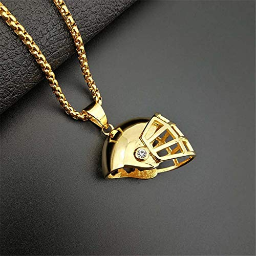 Hip Hop Bling Football Helm Anhänger Iced Out Edelstahl Rugby Hut Halskette 3Mm Box Chain Goldcolor1