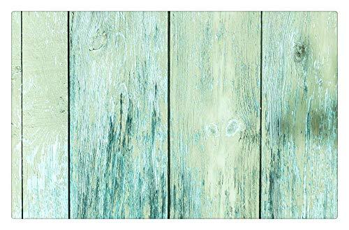 LIS HOME Rustikale Holz-Fußmatte, Fußmatten-Schuh-Schaber-Kunstrasen-Gras-Willkommens-Innenaußenteppich, Streifen-Holzverkleidungs-Dekoration, grün