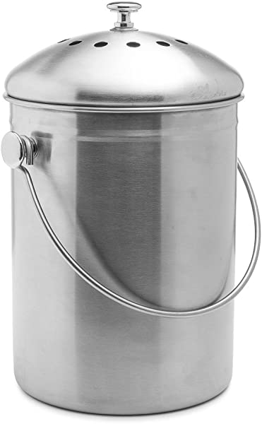 Epica Stainless Steel Compost Bin 1 3 Gallon Includes Charcoal Filter