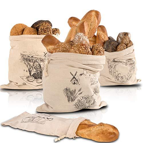 FABIGREEN - Brotbeutel aus 100% Natur Leinen - 4er Set - Brot-Taschen zum Brot Aufbewahren ohne Schimmel - Frischhalten - inkl. Baguette-Tasche & E-Book