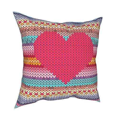 Federa per cuscino in lana con ricamo a forma di cuore arcobaleno, per San Valentino, decorazione per divano, casa, idea regalo per la casa, con cerniera, 45 x 45 cm