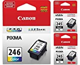 Genuine Canon PG-245 XL High Capacity Black Ink Cartridge - 2 Pieces (8278B001) + Canon CL-246 Color Ink Cartridge (8281B001)