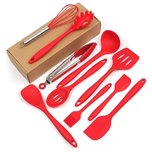 Lot de 10 ustensiles de cuisine de cuisson anti-adhésive en silicone Premium Lot de spatules Cuillères à Tourneurs Ustensiles de cuisine Spatules Louches résistant à la chaleur par Casa Bonita