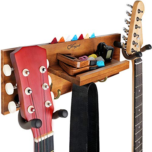 Guitar Hanger Wall Mount with Double Hooks, Guitar Holder Wall Guitar Mount with Pick Holder and 3 Hooks, Wood Guitar Wall Mount Hook Stand Accessories for Acoustic Electric Guitar Bass Banjo Indiana