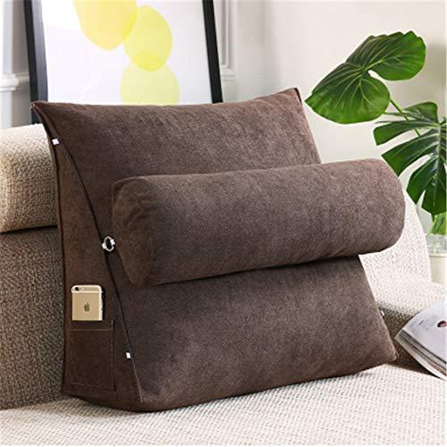 Hava Kolari Rückenkissen Nackenrolle Wedge Pillow tv Kissen für Sofa Bett Leinen, 60X50X20cm (Brown)